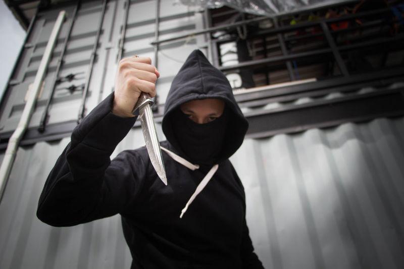 Masked criminal holding a knife Angry Crime Horoscope  Knife Man Murder Rebellion Stolen Thai Thailand A Aggressive Attack Bullying Defense Fighting Gangster Killerminimal Mafia  Murderer Pusher Robber Safety