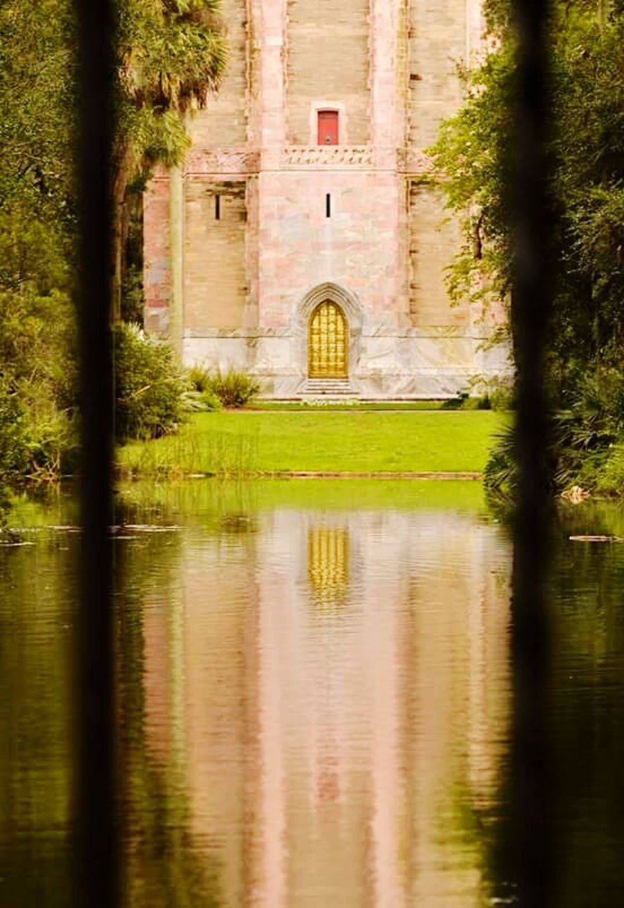 reflection, architecture, tree, built structure, building exterior, no people, water, outdoors, day