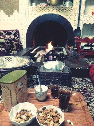 Fireplace Relaxing By The Fireplace!  Fireplace Time My Fireplace Lol شبة النار وشاهي الحطب - My fire place & tea time