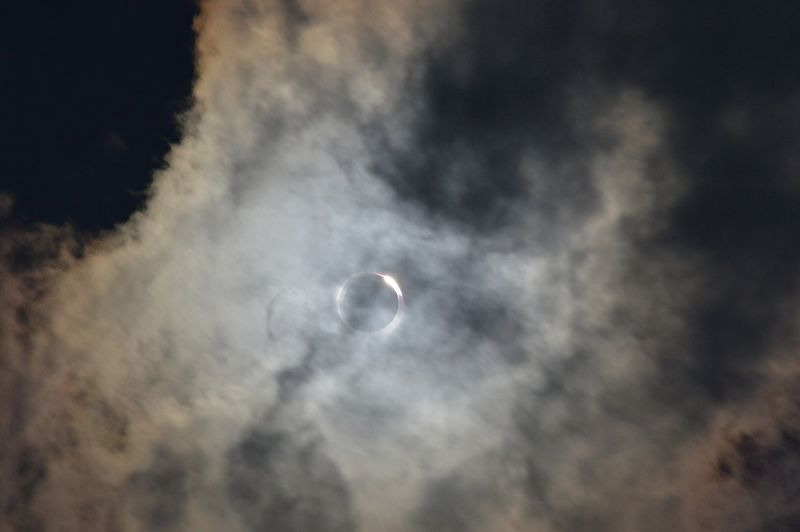 The clouds created a cool effect on the eclipse. Here's the Bailey's Beads, or the diamond ring effect of the moon passing over the sun. Moon Nature Astronomy Outdoors No People Space Sky Beauty In Nature Solar Eclipse 2017Solar Eclipse Cloud - Sky Clouds Amazing Sight Eclipse