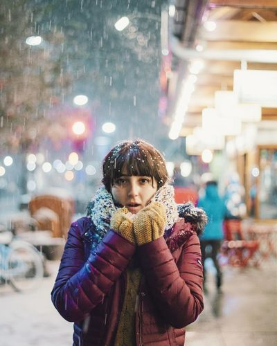 First Snow. Shades Of Winter One Person Waist Up Front View Real People Standing Looking At Camera Leisure Activity Cold Temperature People Portrait Warm Clothing Night Young Adult