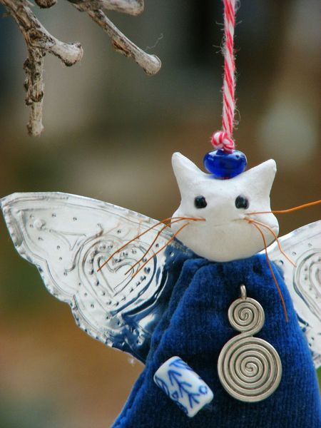 Cat Angel of Crete. Christmas Decoration Tree Ornaments Hanging Close-up Cat Angel Heather Fifield Art Heather Fifield Awehaven Art MerryChristmas Cat Lovers Cats Of EyeEm Handmade For You Awehaven Creative