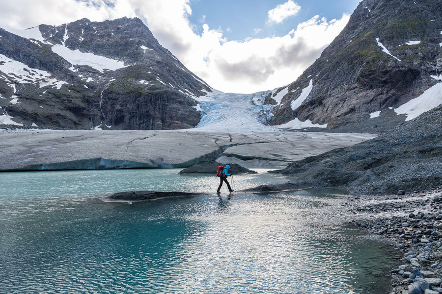 Adventure Beauty In Nature Climate Change Cold Enjoyment Extreme Sports Freedom Fun Glacier Glacier Lake Global Warming Hiking Idyllic Lake Landscape Lyngen Alps Mountain Nature Northern Norway Norway Outdoors Steindalsbreen Unrecognizable Person Water The Great Outdoors - 2017 EyeEm Awards