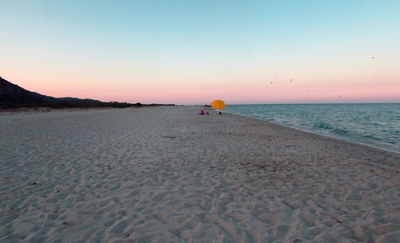 beach, sea, sunset, scenics, sand, clear sky, nature, beauty in nature, tranquil scene, sky, one person, outdoors, tranquility, water, real people, vacations, leisure activity, horizon over water, adventure, day, parachute, bird, people