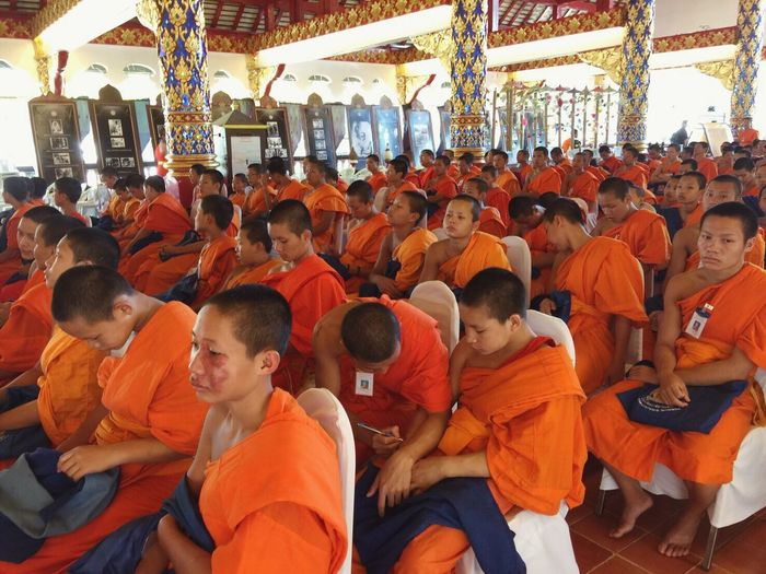 Men Large Group Of People Adults Only Sitting Women Adult Only Men People Crowd Outdoors Day Monks In Temple Travel Destinations Place Of Worship Spirituality Buddhist Temple