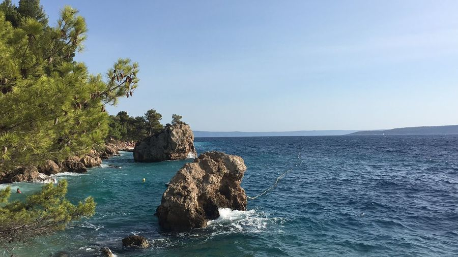 EyeEm Selects Sea No People Scenics Beauty In Nature Water Rock - Object Rock Formation Tranquility Clear Sky Sky Outdoors Day Horizon Over Water Tranquil Scene Nature Blue Summer Croatia Brela  Vacations Calming Wave