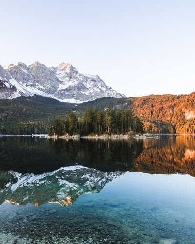 Beautiful Sunrise at Eibsee, Garmisch-Patenkirchen, Germany Eibsee Sunrise_Collection Water Reflections Bayern Bergsee Blue Sky crystal clear Grainau Lake Eibsee Landscape Mountain Lake Mountain Landscape Mountains Relfection Sunrise Warm Warm Light EyeEmNewHere