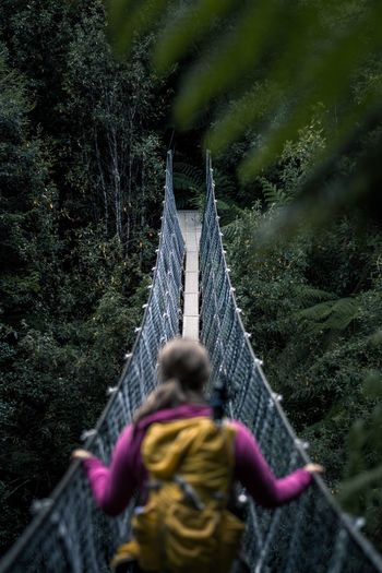 Rear view of woman on rope bridge in forest