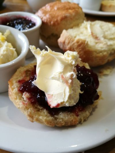Food And Drink Food Indoors  No People Close-up Sweet Food Breakfast Ready-to-eat Freshness Homemade Toasted Bread Sweet Pie Day Creamy Cream Clotted Cream Cornish Clotted Cream Cream Tea Scones And Jam Scones Cornwall Cornwall Uk Cornwall Life Treats
