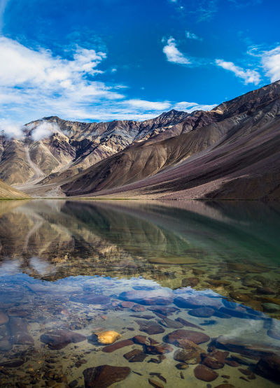 Reflection of Chandratal Lake Mountain Landscape Outdoors No People Scenics Nature Water Cloud - Sky Beauty In Nature Sky Lake Mountain Range Day Space And Astronomy Camping Himalayas Snow Himachal Uttarakhand Mountain Peak Beauty In Nature Incredibleindia Travel Destinations Incredibleindiaofficial Lieblingsteil