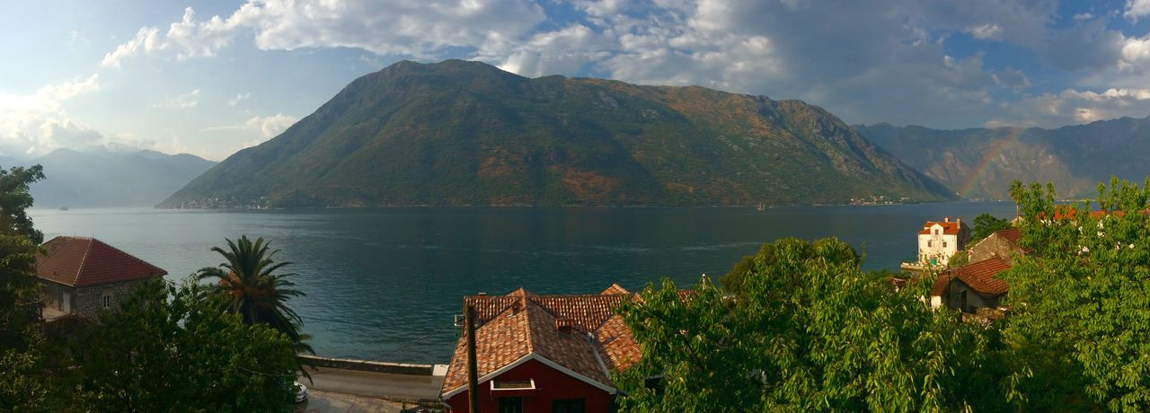 View of lake with mountain range in the background