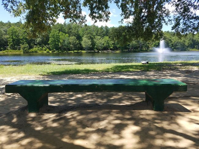 Nature Photography Outdoor Photography Summertime 🌞 Waterfront Shades Of Nature Landscape_photography No People Lake View Water Fountain Park Bench Showcase July 43 Golden Moments Light And Shadow Hidden Gems