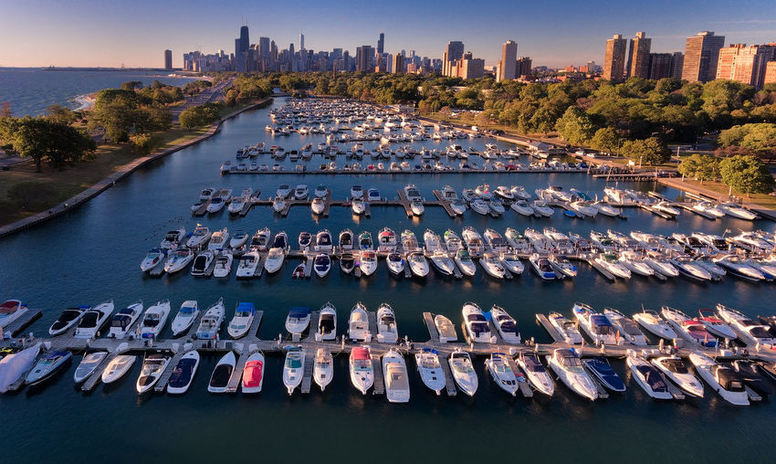 Marina Architecture Chicago City Marina Skyline Skyscrapers Aerial View Architecture Boats Building Exterior City Cityscapes Day Large Group Of Objects Nature No People Outdoors Park Sky Tree Urban Ville Water