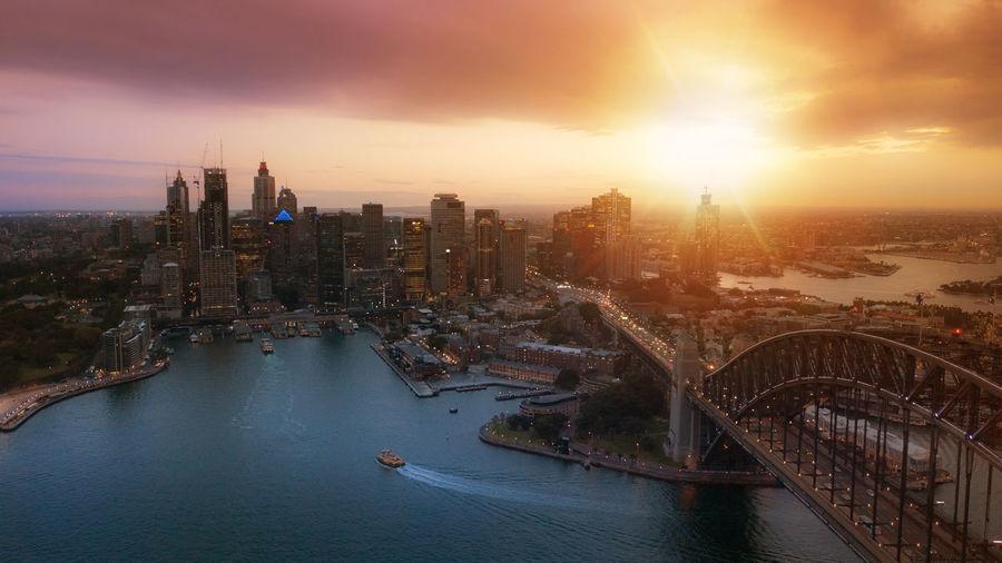 Majestic sunset over the harbour bridge in sydney, australia.