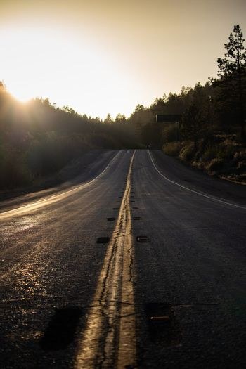 Open road Sky Road Transportation Nature Tree Direction Summer Road Tripping The Way Forward Sunset Tranquility Beauty In Nature Road Marking