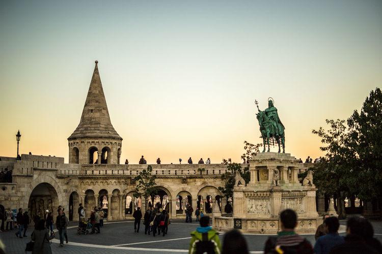 Buda Budapest Citadel City Halaszbastyarestaurant King Matyaschurch People Statue Sunset First Eyeem Photo