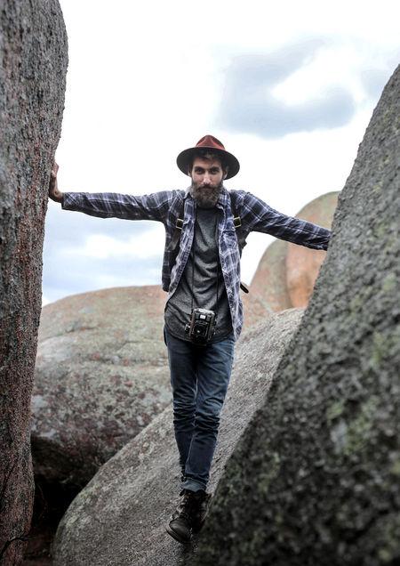 Beautiful People Camera Climbing Hat Nature Plaid Shirt  Plaidshirt Rock Sky