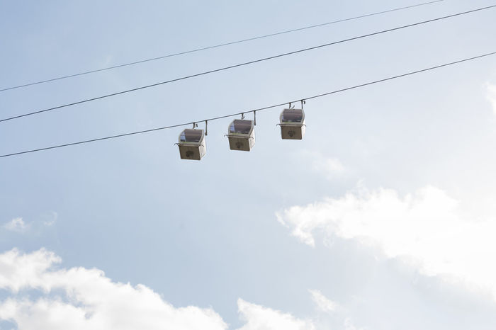 Cable cars. Adventure Blue Cable Cable Cars Cloud - Sky Day EyeEm Gallery Hanging High Life In Motion Lifestyles Low Angle View Nature No People Outdoors Outdoors Photograpghy  Sky Sky And Clouds Summer Summertime Technology Transportation Travel Up