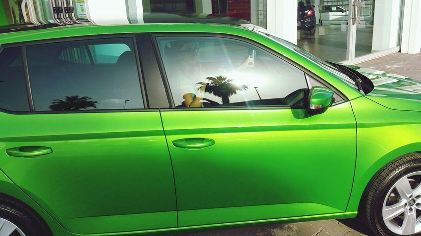 Green Green Color Green Green Green!  Green Car New Car New Wheels Car Cars Carselfie Skoda Skodafabia Skoda Fabia Skodafan Lime Green Lime Green Paint Reflection Reflections Reflection_collection Color Palette