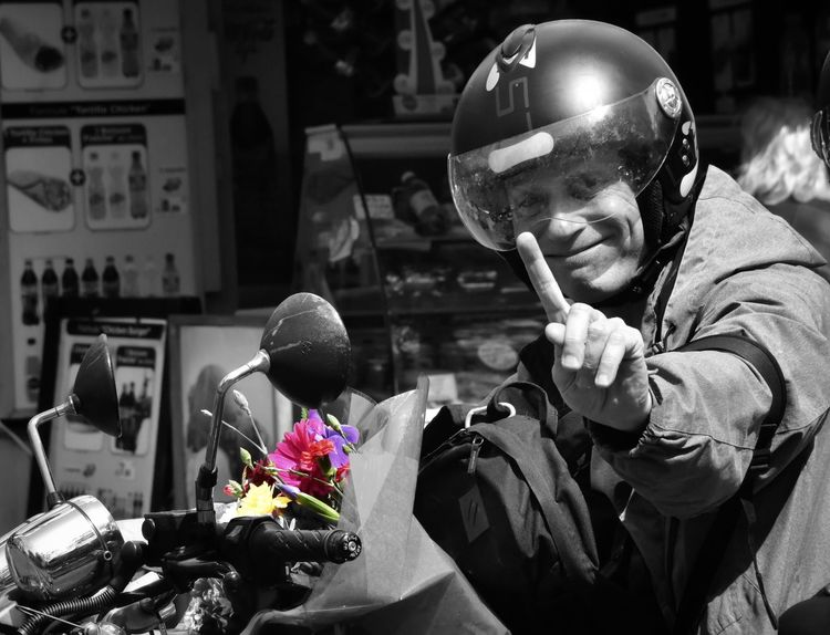 """To all the mom's in the states ... Happy Mother's Day 2016 ... I noticed these flowers on the motorcycle ... Went to grab a pic and was """"caught in the act""""... Flowerporn Colorsplash Paris, France"""