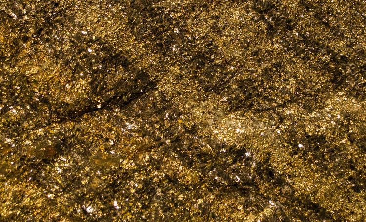 Close-up Pyrite Fools Gold Rocks And Minerals Glitters Sparkling Grains Deposits Semi Precious Stones Gold Background Full Frame Strata  Crystals Textures And Surfaces
