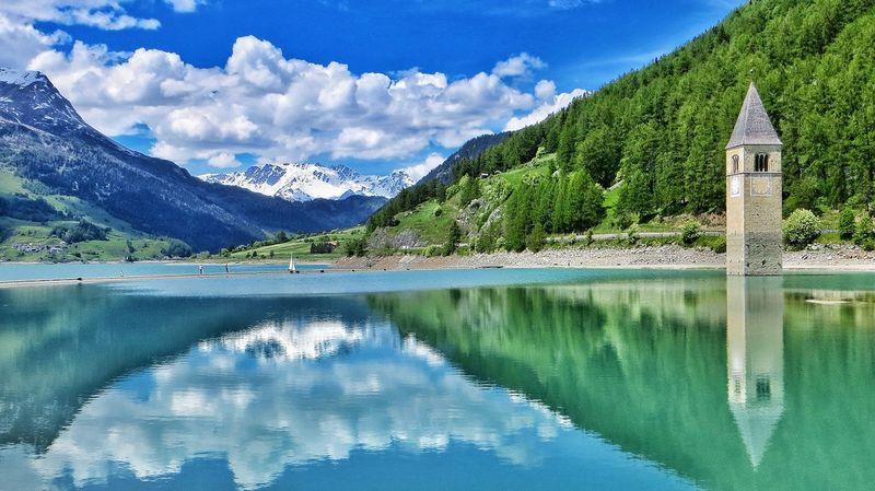 Reschensee Reschenpas Südtirol South Tyrol Bergsee Mountain Lake Stausee Vinschgau Alpen Alpensee Alps Alto Adige Sudtirolo