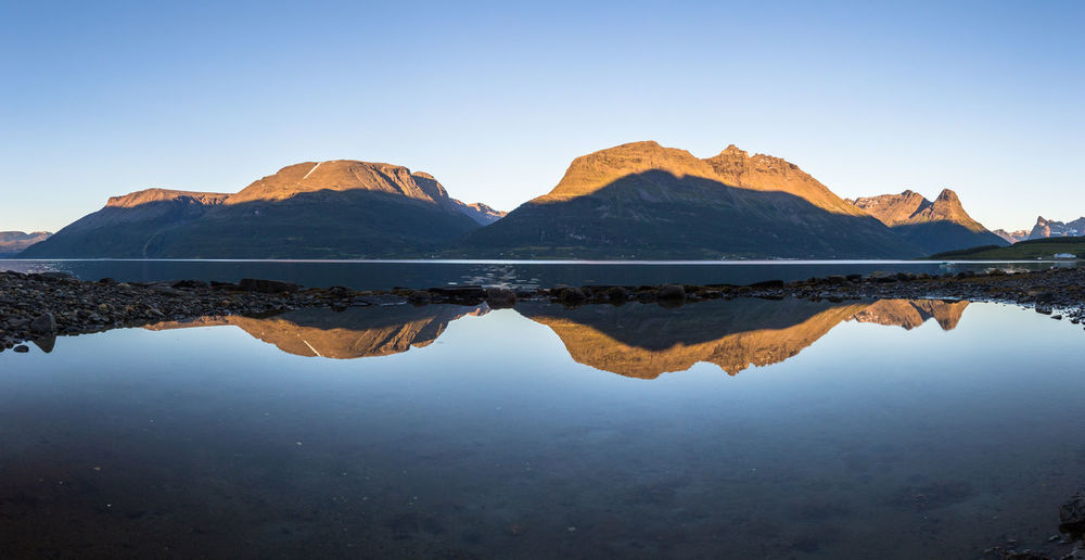 Beauty In Nature Blue Calm Clear Sky The Great Outdoors - 2017 EyeEm Awards Idyllic Lake Majestic Mountain Mountain Range Nature Night Northern Norway Norway Physical Geography Reflection Reflection Scenics Shallow Standing Water Symmetry Tranquility Vacations Water Waterfront