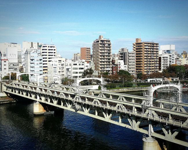 Bridge Whitebridge Sumida River 27km 26 Bridges Beautiful Day Sunnyday Buildings Architecture Architecturelovers Architecturephotography Architecture_collection Tokyo_architecture Tokyo Daytripout Coachtravel Japan Travelphotography
