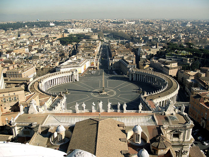 High angle view of st peter square and cityscape