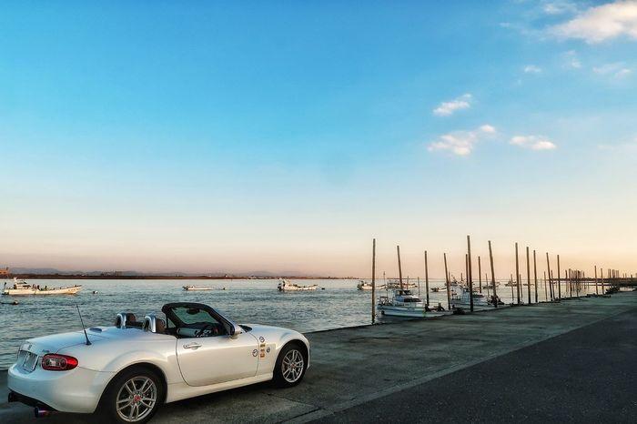 筑後川 川 空 海 漁船 月 月見 マツダ ロードスター NC Na Nb  Nd Mazda Roadster MX-5 Mx5 Miata Miata Riverside Seaside Car Horizon Over Water Beach Sea Water