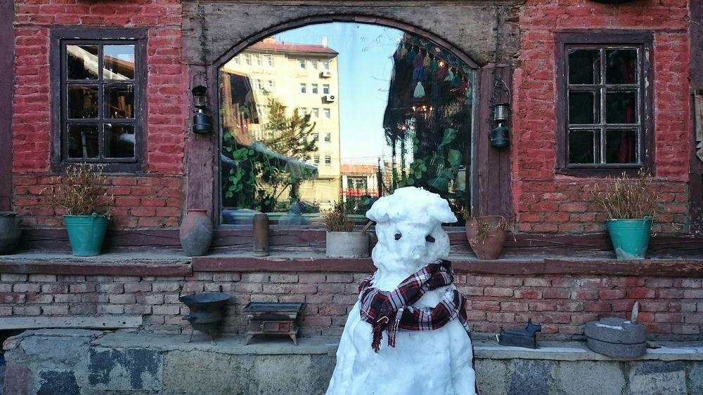 Snowman Frosty The Snowman Building House Windows Wall Eye4photography  Taking Photos EyeEm Best Shots Winter