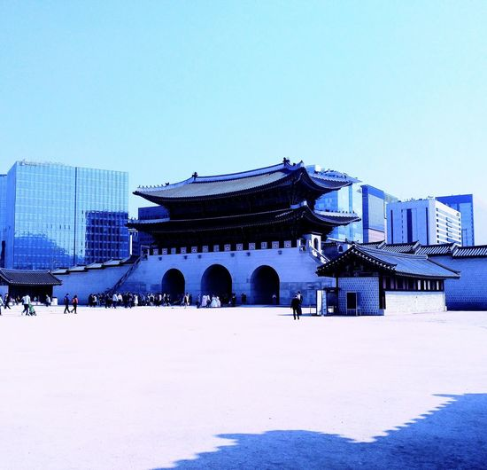 Architecture Travel Destinations City Tourism Building Exterior Built Structure Snow Winter Ice Rink History Cold Temperature Cityscape Large Group Of People People Outdoors Day Astronomical Clock Korean Traditional Architecture Korean Culture Korean Loyalpalace Welcome To Black