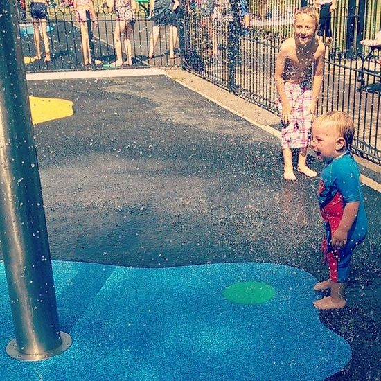 Lammas Splashpark Littleman Gettingwet lovingit summer braveboy
