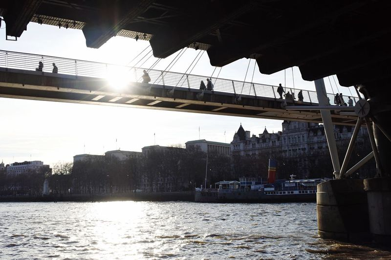Incredible bridges in London. View from River Thames Architecture Built Structure River Building Exterior Bridge - Man Made Structure Waterfront City Water Transportation Sunlight Connection Travel Destinations Outdoors Suspension Bridge Nautical Vessel Sun Bridge Sky No People Day Bright Sundown Sundown, Nightfall, Close Of Day, Twilight, Dusk, Evening Bridges River View The City Light EyeEm LOST IN London