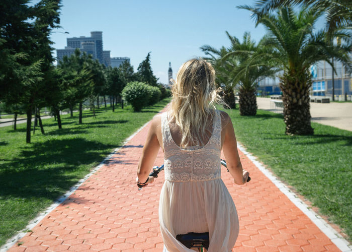 Red Road Batumi Promenade Bicycle Cycling Blue Sky Red Bricks Palm Trees White Dress Blonde Girl Summer Holidays Green Grass City Life Linas Was Here International Women's Day 2019