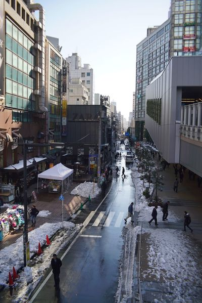 After Snowing Day Cityscape People Road Between Buildings People Watching Street Photography Snapshots of Life City Life Sky And City Reflection vanishing point Perspective Tokyo Street Photography Shinjuku Tokyo,Japan Wet Winter People City Large Group Of People Day