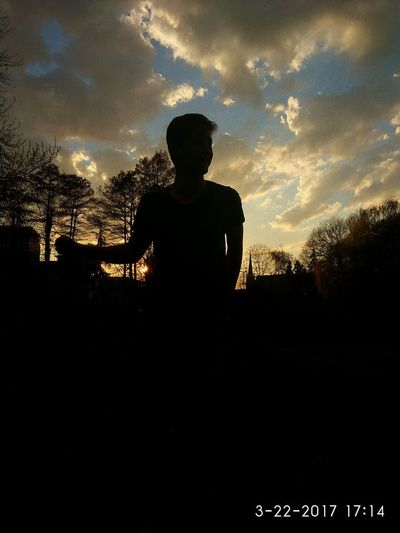 EyeEmNewHere he's the shadow, but also my light One Man Only Silhouette Only Men Outdoors Men One Person Nature Sunset