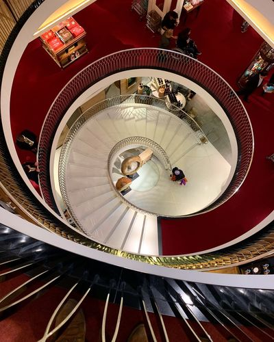 Shapes and stairs Fortnum&Mason Indoors  Architecture High Angle View Built Structure Arts Culture And Entertainment No People Pattern Spiral Shape Geometric Shape Circle Staircase Illuminated