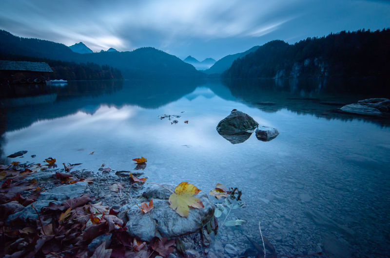 A long exposure of an alp lake in autumn