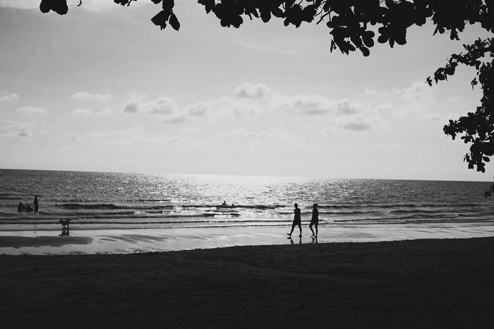 Couple Thailand Island Blackandwhite Water Sky Beach Land Sea Real People Nature Lifestyles Day Leisure Activity Outdoors