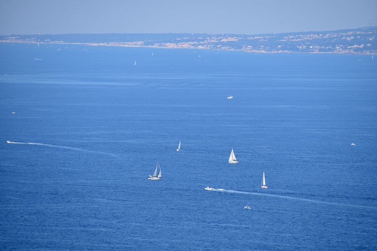 White sailing yachts in blue sea Water Sea Waterfront Nautical Vessel Blue Scenics - Nature Beauty In Nature Horizon Over Water Transportation No People Day Tranquil Scene Tranquility Mode Of Transportation Horizon Nature Sky Sailboat Seascape Outdoors Summer