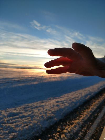 Human Hand Sunset Silhouette Close-up Nature Sky Hand Outdoors Day