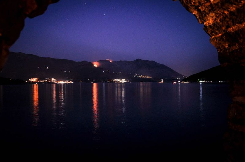 Adriatic nights Night Reflection Sky Nature Illuminated Scenics No People Sea Star - Space Outdoors Water Mountain Beauty In Nature Astronomy Montenegro Wild Beauty Summer Montenegro Rocks And Water Travelling Budva,Montenegro Adriatic Sea City
