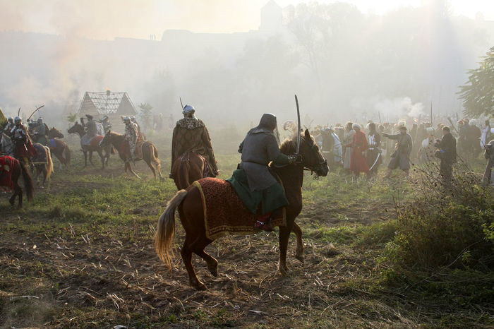 Battle Battlefield Cavalry Fog Historical Reconstruction History Horse Large Group Of People Leisure Activity Old Weapon Old Weapons Outdoors People Reconstruction Group Soldiers Ukraine Vintage XVII Century