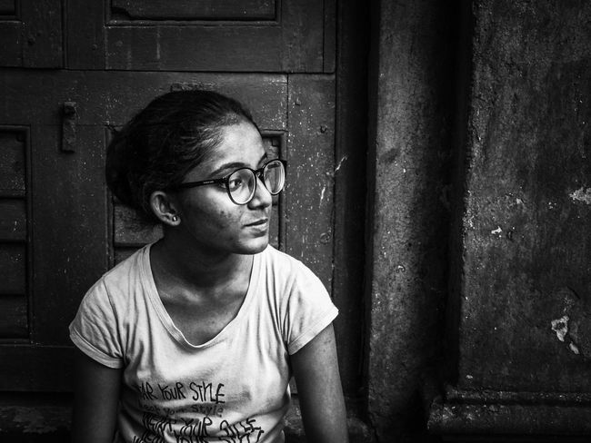 Adult EyeEmNewHere Portrait Of A Woman Spectacles The Week On EyeEm Black And White Childhood Close-up Day Elementary Age Girls Indoors  Lifestyles One Person People Real People Black And White Friday Be. Ready.