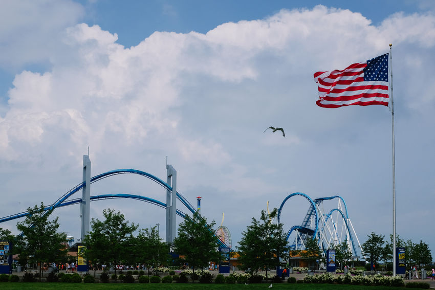 Architecture Bird Built Structure Cedar Point Cloud - Sky Day Flag Flag Pole Flying Low Angle View Nature Nature No People Outdoors Park Patriotism Roller Coaster Rollercoaster Rolling Sky Stars And Stripes Tree USA USA FLAG