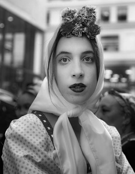 Hispanic Day NYC 2018 Hispanic Day Parade NYC 2018 Ethnic Pride Spanish Woman Head Scarf Traditional Dress Black And White