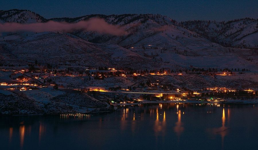 The Great Outdoors With Adobe Envision The Future After Sunset Rural Scenes Rural Landscape Hillside Homes Real Estate Majestic Simplicity Night Lights Night Landscape Lake View Reflecting Light Water Reflections Beautiful Night Long Exposure Capturing Light Capturing Movement Twinkling Lights Chelan Lake Chelan Washington Pacific Northwest  Landscapes With WhiteWall See The Light Shades Of Winter