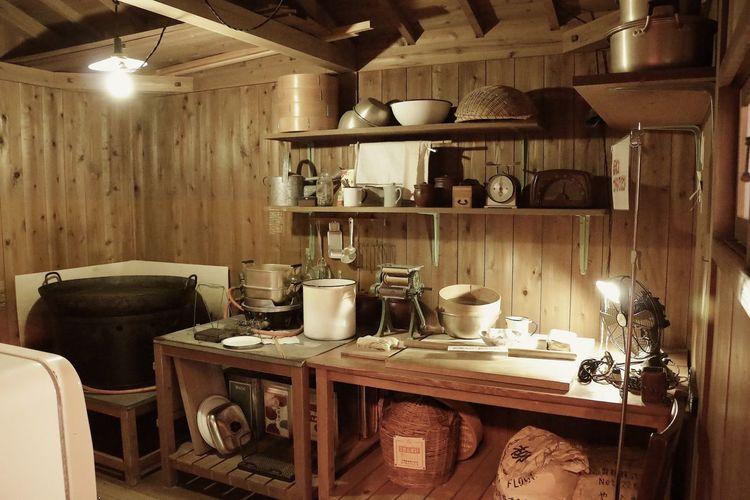 Interior on illuminated kitchen