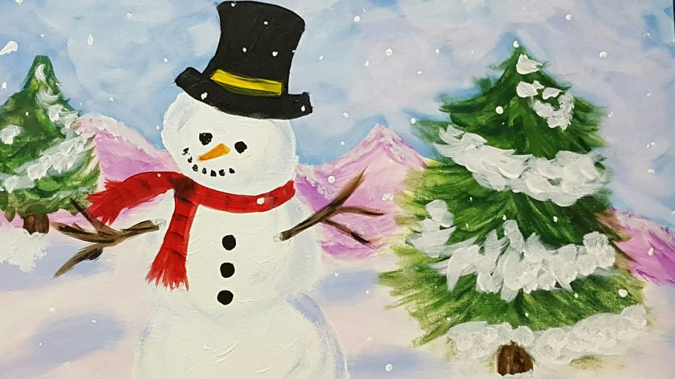 Winter painting on canvas. Winter Scene Snowman Acrylic Paint Red Scarf Purple Mountains Snowy The Culture Of The Holidays